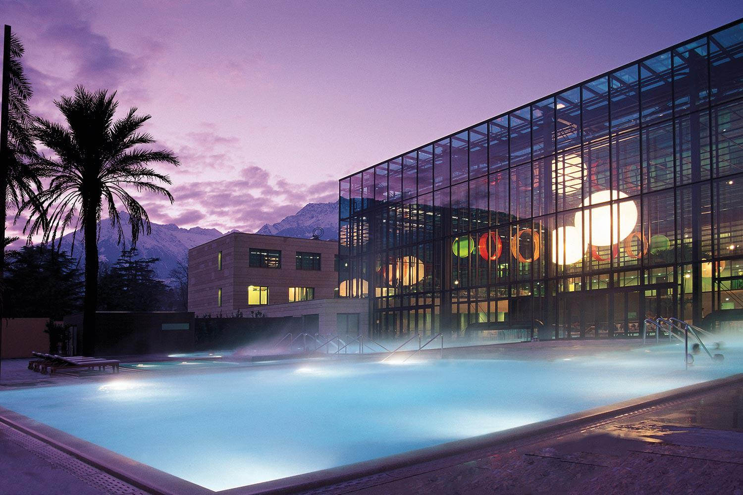 Abendstimmung in der Therme Meran